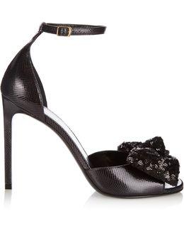 Jane Lizard-effect Leather Sandals