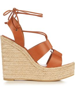 Lace-up Espadrille Leather Wedge Sandals