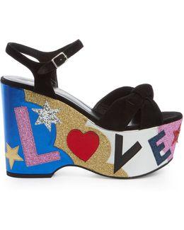 Candy Love-appliqué Suede Platform Sandals