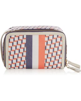Cube-print Coated-canvas Cosmetics Case