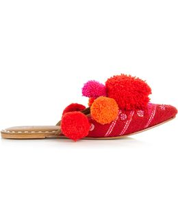 'iris' Pompom Embroidered Leather Slides