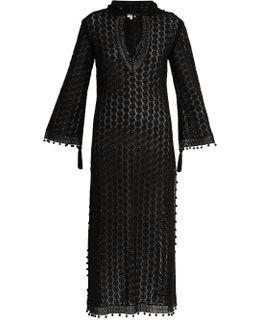 Hooded Crochet-lace Long Kaftan
