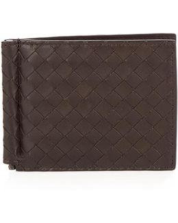 Intrecciato Leather Hinge Wallet
