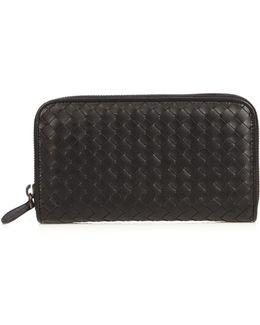 Intrecciato Leather Zip-around Wallet