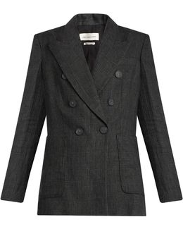 Janey Prince Of Wales-checked Linen Blazer