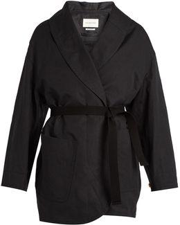 Ilona Tie-waist Cotton And Linen-blend Coat