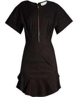 Neit Zip-front Ruffled-hem Dress