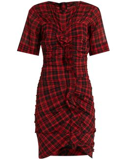 Wallace Checked Cotton-blend Mini Dress