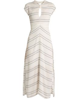 Knot-detail Pinstriped Stretch-crepe Dress