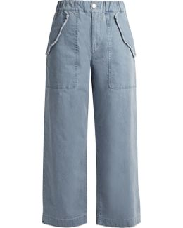 High-waisted Wide-leg Cotton-blend Trousers