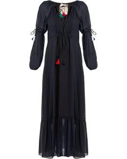 Nicolete V-neck Silk-georgette Dress