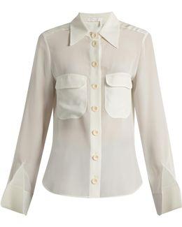Point-collar Silk Blouse
