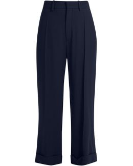 Wide-leg Cady Cropped Trousers