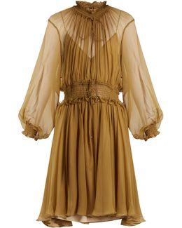 Ruffle-trimmed Smocked Silk Dress