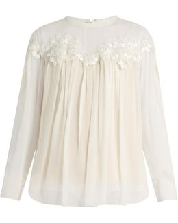 Lace-trimmed Gathered Silk-georgette Blouse