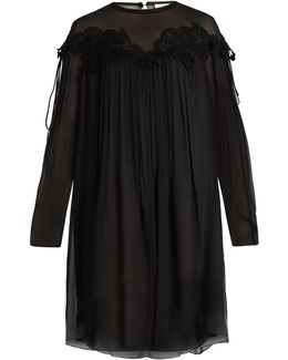 Lace-appliqué Brushed Silk-georgette Dress