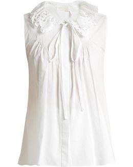 Broderie Anglaise-collar Cotton-poplin Top