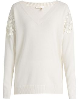 Lace-insert V-neck Wool And Cashmere-blend Sweater