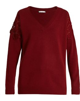 Lace-insert Wool And Cashmere-blend Sweater