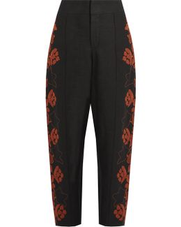 Floral-embroidered High-rise Linen Trousers