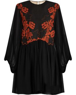 Floral-embroidered Linen And Silk Dress