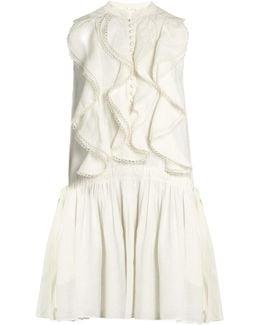 Ruffle-trimmed Sleeveless Linen Dress