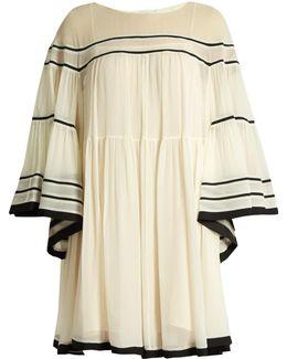 Contrast-trim Silk-crepon Dress