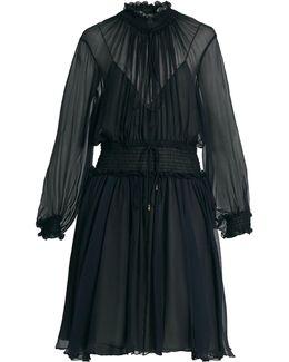 Smocked Silk-crepon Dress