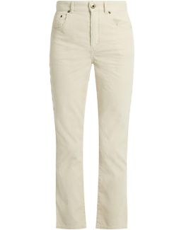 Scalloped-seam Cropped Corduroy Trousers