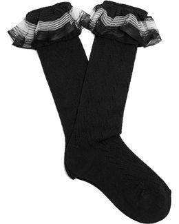 Ruffle-trimmed Pointelle-knit Socks