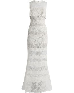 Sleeveless Macramé-lace Gown