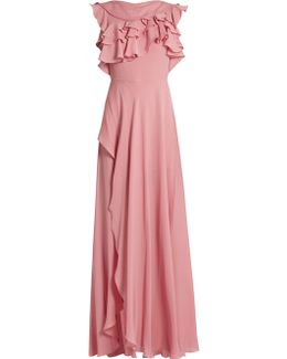 Ruffled Silk-georgette Gown