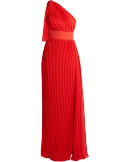 One-shoulder Pleated Georgette Gown
