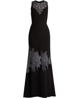 Lace-insert Belted Crepe Gown