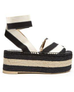 Striped Bi-colour Espadrille Sandals