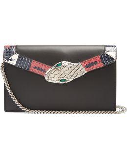 Lilith Mini Snakeskin-trimmed Leather Shoulder Bag