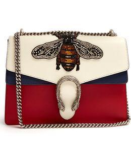 Dionysus Large Bee Appliqué Leather Shoulder Bag