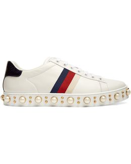 New Ace Faux-pearl Embellished Leather Trainers