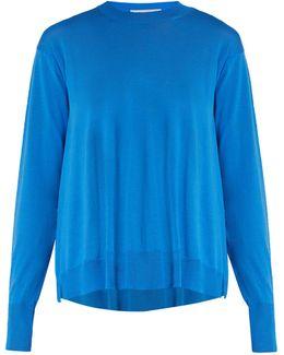 Asymmetric-hemline Wool Sweater