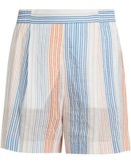 Striped Wide-leg Shorts