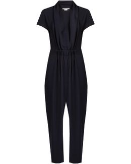 Aio Short-sleeved Tapered Silk Jumpsuit