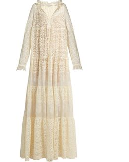 Deep V-neck Lace Maxi Dress