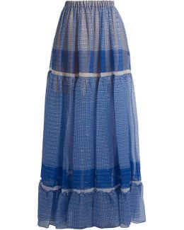 Star-print Silk-blend Tiered Maxi Skirt