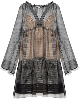 Black Printed Silk Chiffon Dress - Size 10