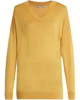 V-neck Oversized Wool And Silk-blend Sweater