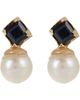 Sapphire, Pearl & Yellow-gold Earrings