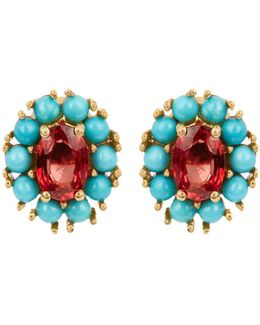 Sapphire, Turquoise & Yellow-gold Earrings