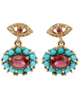 Diamond, Ruby, Sapphire & Turquoise Earrings