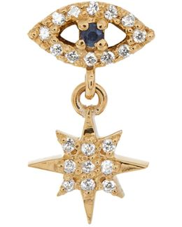 Diamond, Sapphire & Yellow-gold Earring