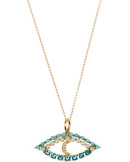 Diamond, Apatite, Turquoise & Pearl Necklace